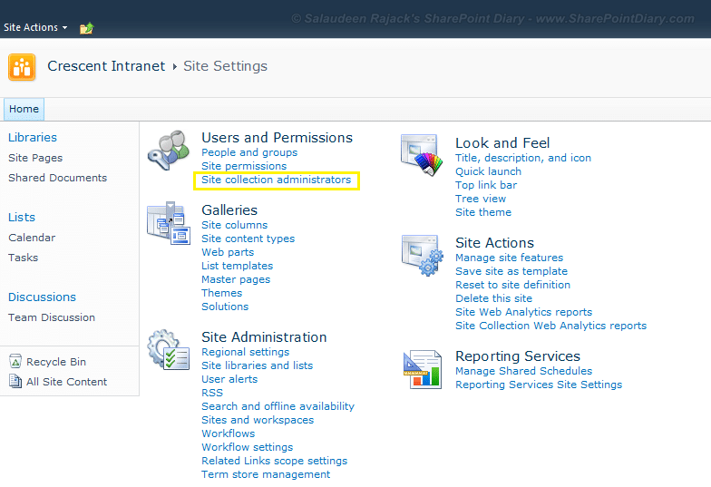 add site collection administrator in sharepoint