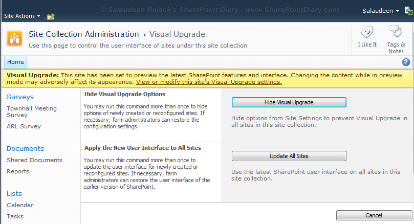 sharepoint 2010 visual upgrade all subsites