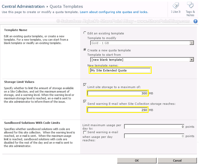 create new quota template in sharepoint