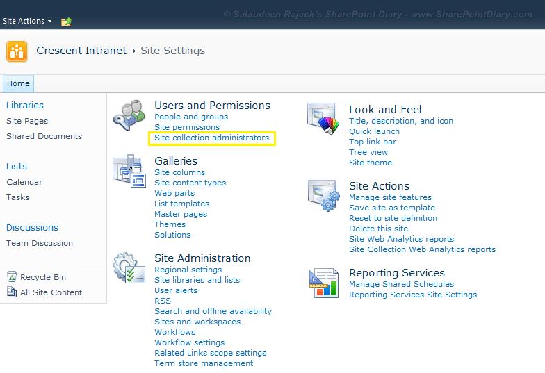 delete site collection administrator