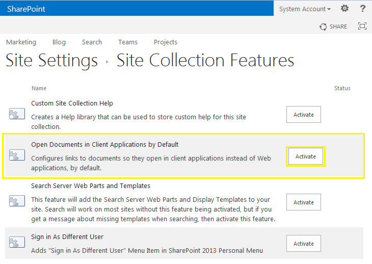 sharepoint how to activate a feature