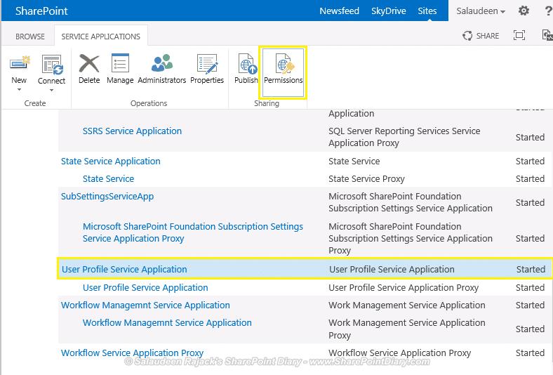 user profile service application permissions