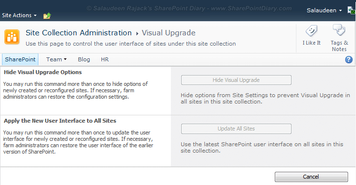 sharepoint visual upgrade grayed out