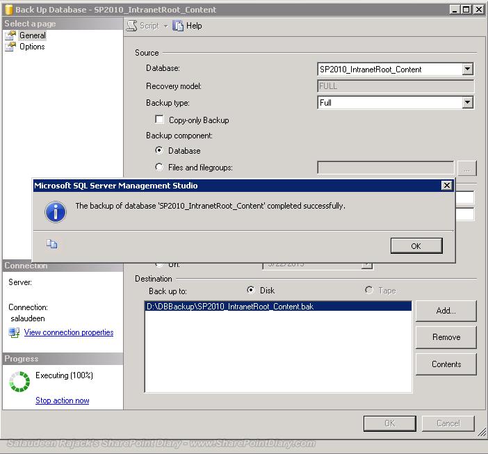 SharePoint content database backup