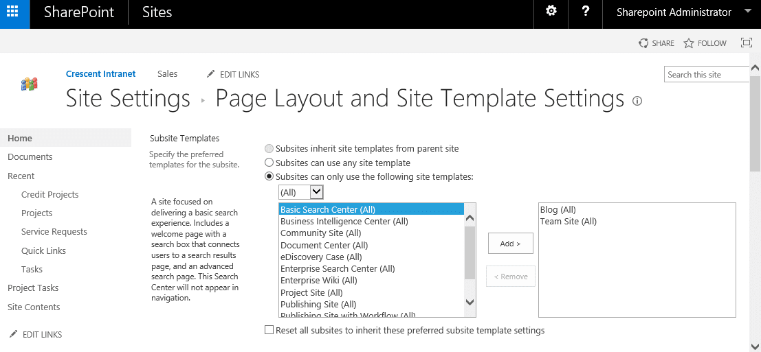 hide site templates in sharepoint 2016
