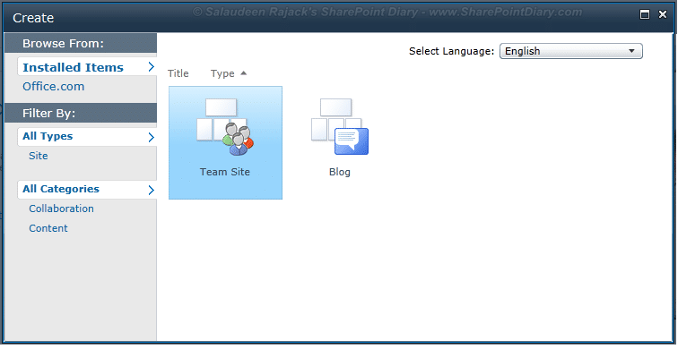 hide site template sharepoint