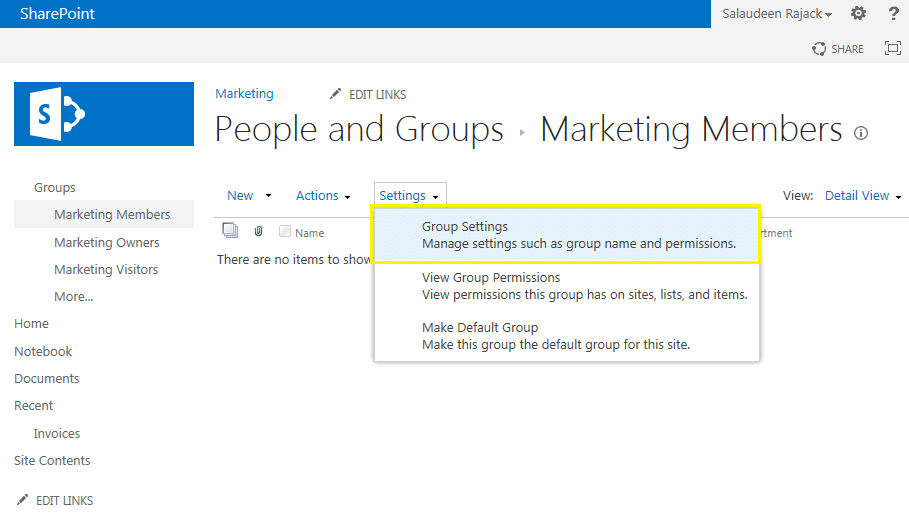 how to rename sharepoint group
