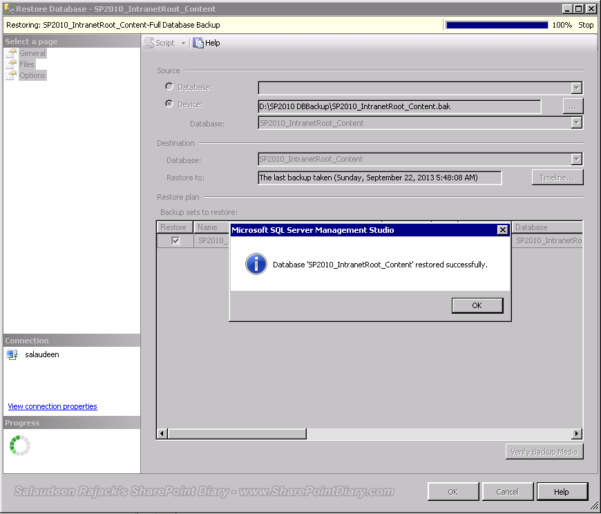 SharePoint Content Database Restore