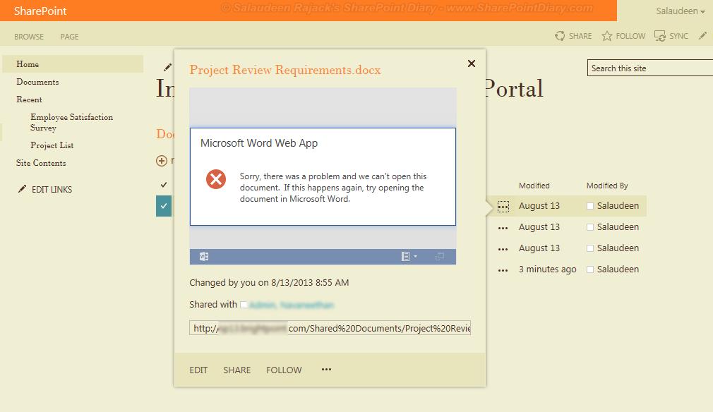 office web apps 2013 error