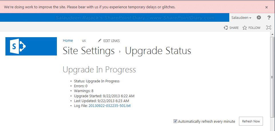 upgrade status
