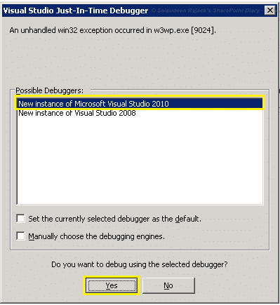 disable visual studio just in time debugger