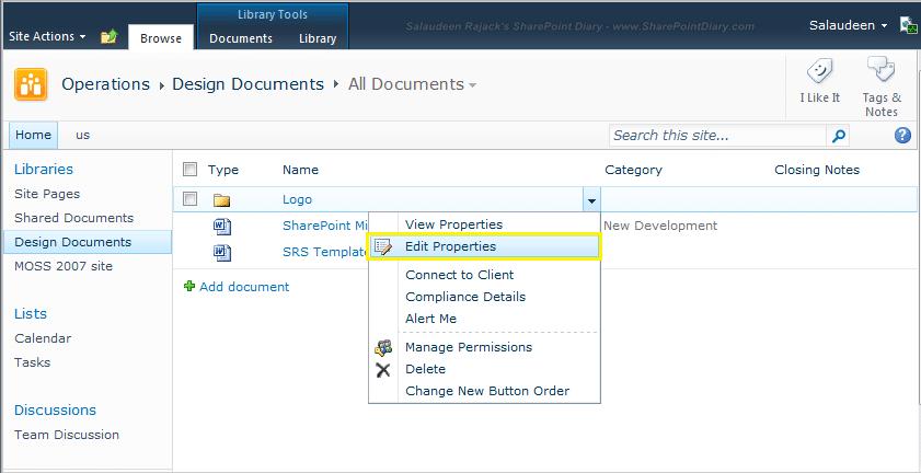 how to rename a sharepoint folder