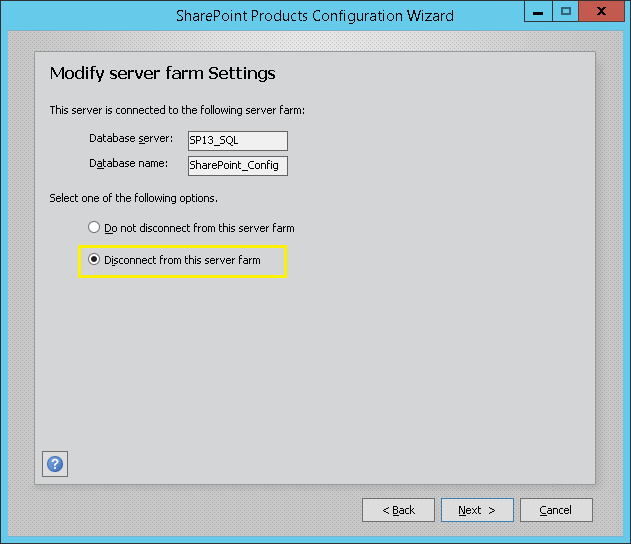 remove sharepoint server from farm