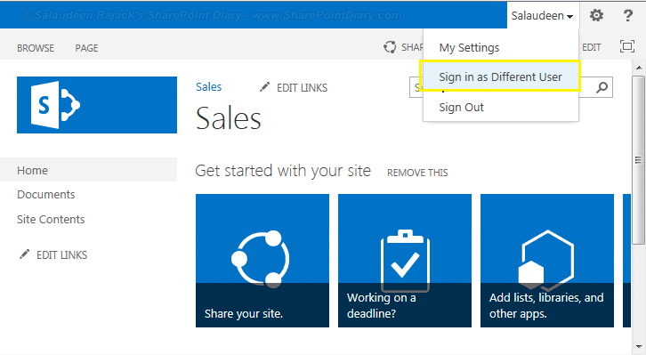 sharepoint 2013 sign in as another user