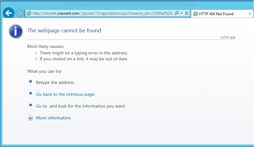 sharepoint 2013 apps page cannot be displayed