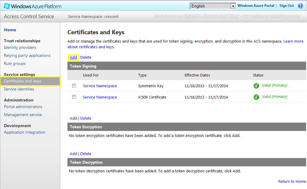 add certificates and keys