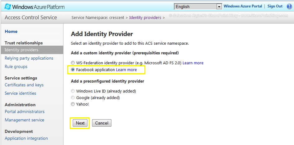 sharepoint 2013 facebook authentication