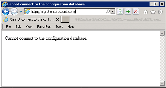 cannot connect to the configuration database 1
