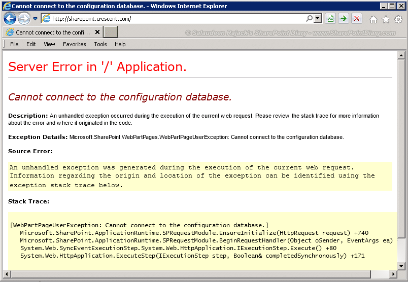 Cannot connect to the configuration database