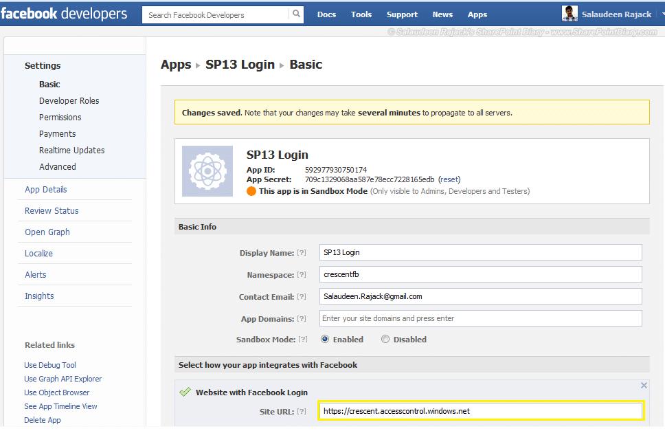 configure facebook app settings