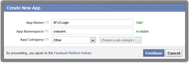 create facebook application for sharepoint 2013 login