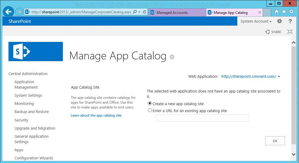Create sharepoint 2013 app catalog