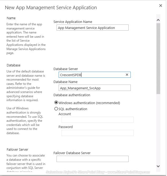 create new app management service application