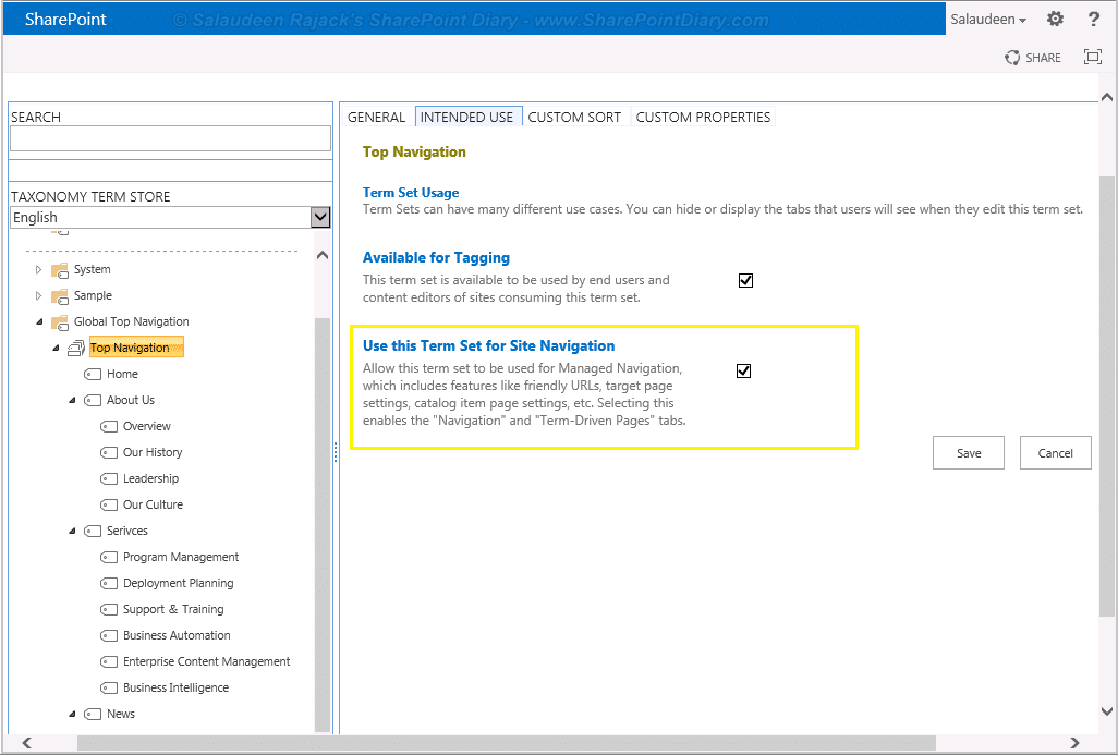 managed navigation in sharepoint 2013
