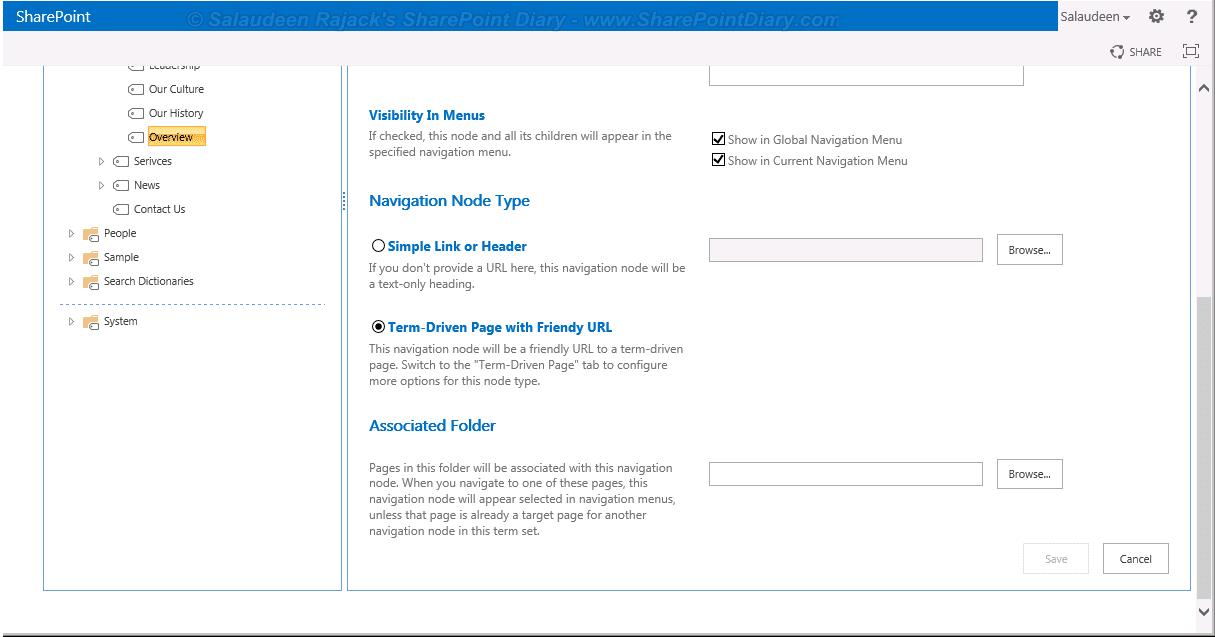 friendly URL in managed metadata navigation
