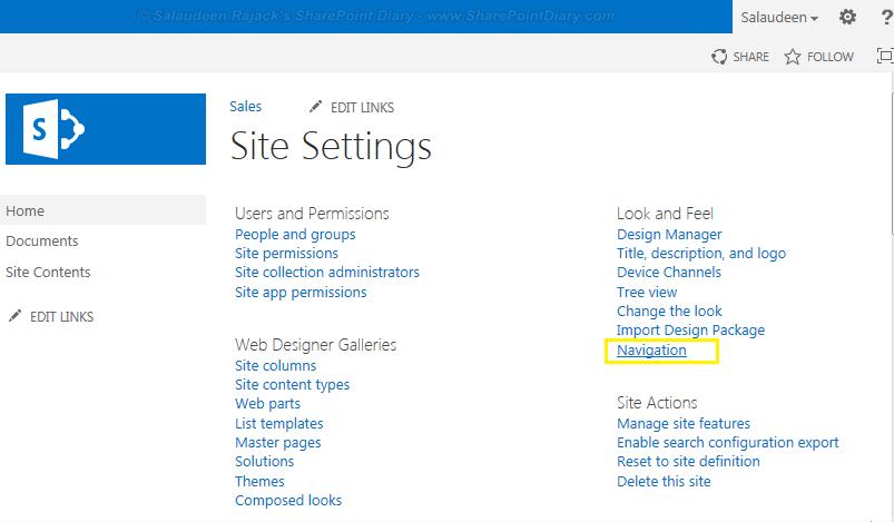 navigation link in site settings