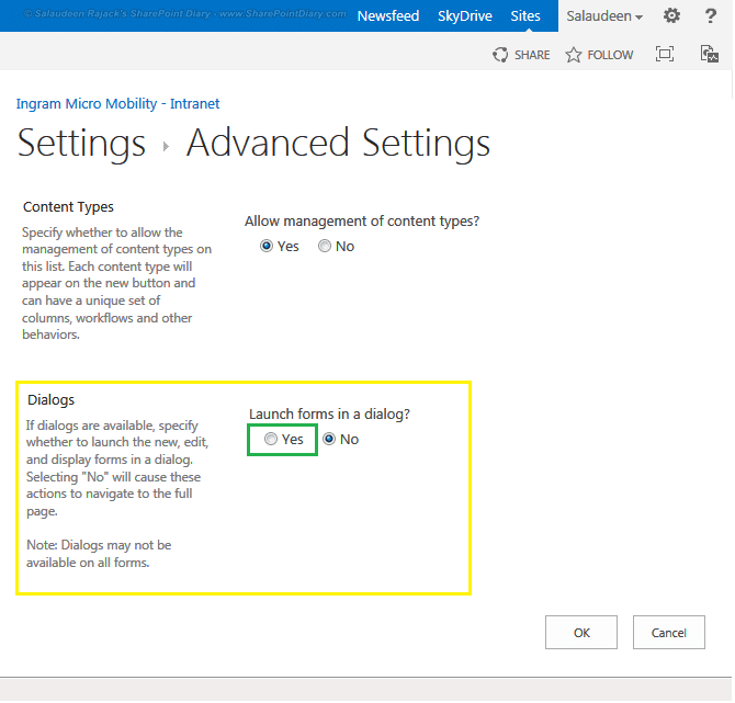sharepoint 2013 open form in dialog