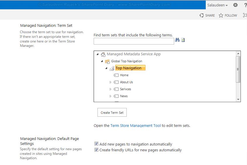 sharepoint managed metadata navigation
