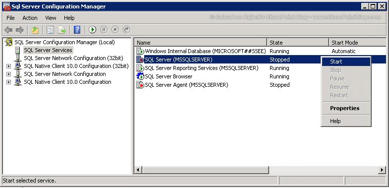 start sql server service for sharepoint