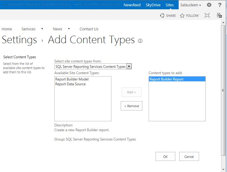 1 add report builder report content type