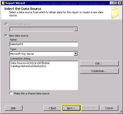 5 report wizard setup datasource