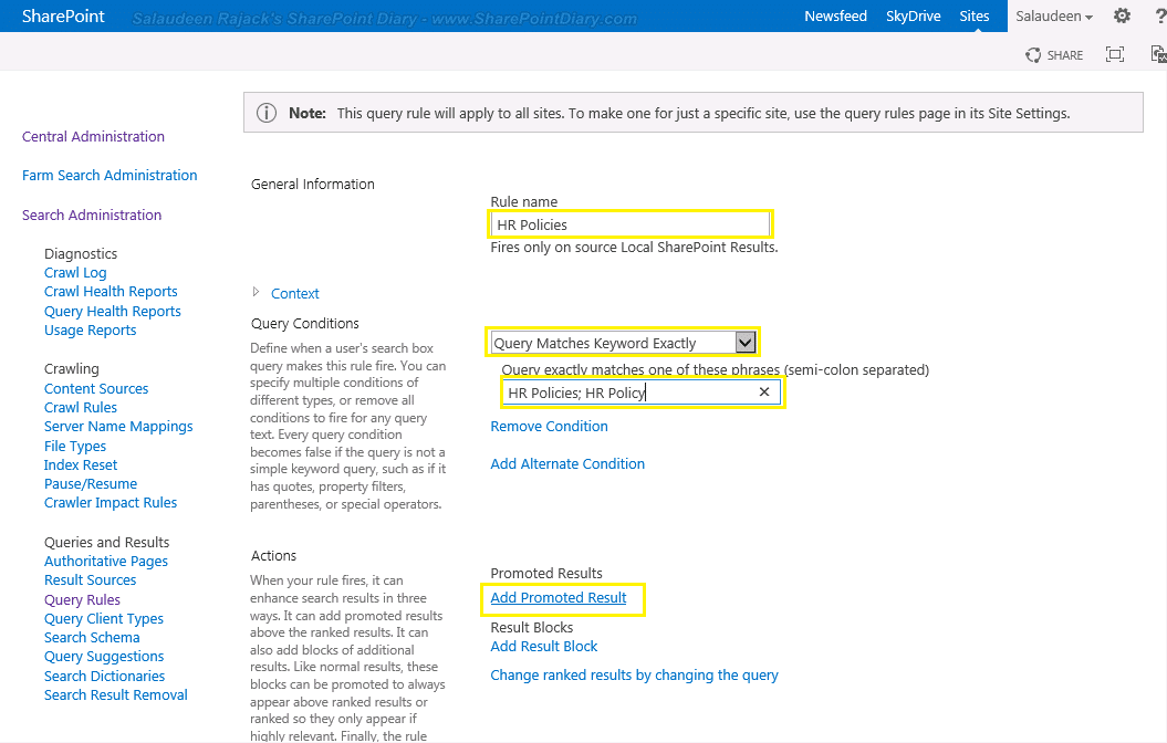 Create Promoted Search Results in SharePoint 2016