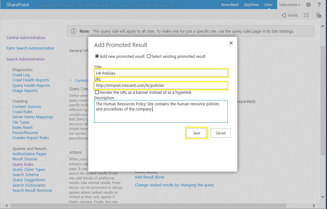 How to Add Promoted Search Results in SharePoint 2013