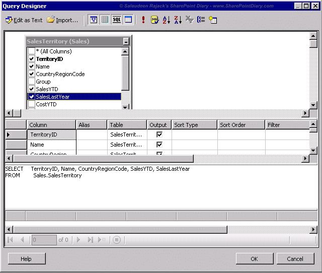 7 query designer select fields