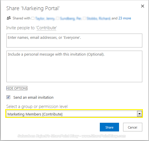 Share feature in SharePoint 2013