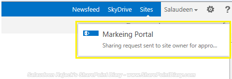 sharing request sent to the site owner for approval