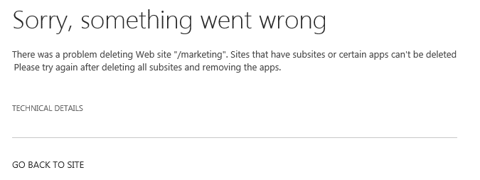 there was a problem deleting web site