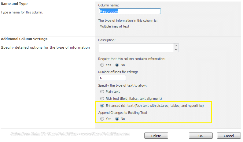 enable rich text editing in sharepoint