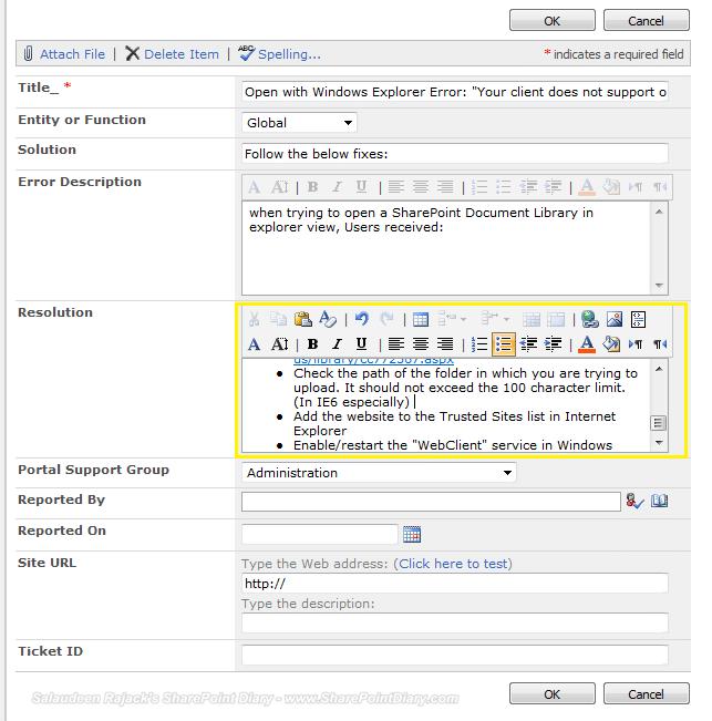 richtext toolbar in sharepoint multiline text column