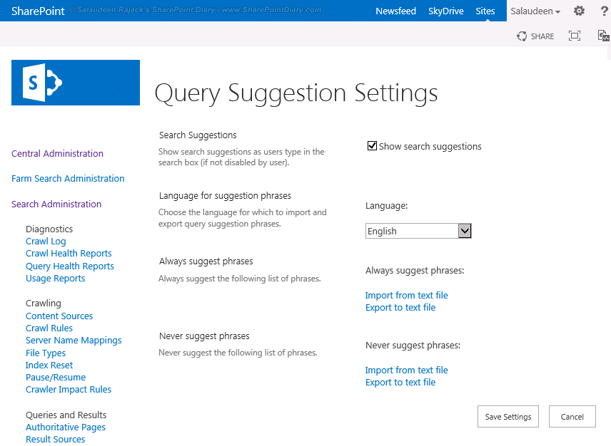 sharepoint 2013 query suggestions