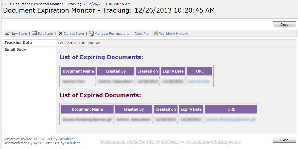 tracking list
