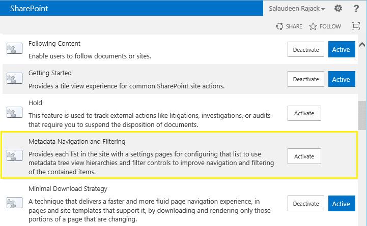 metadata navigation settings missing sharepoint 2013