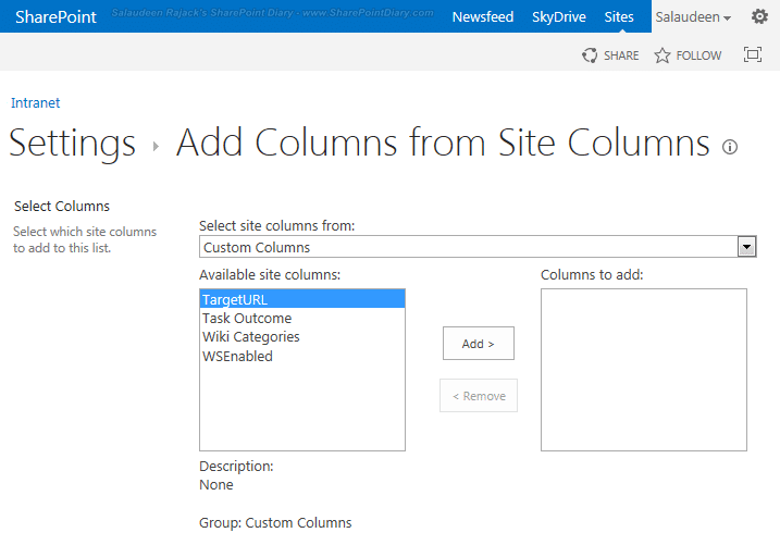 2 add from existing site column