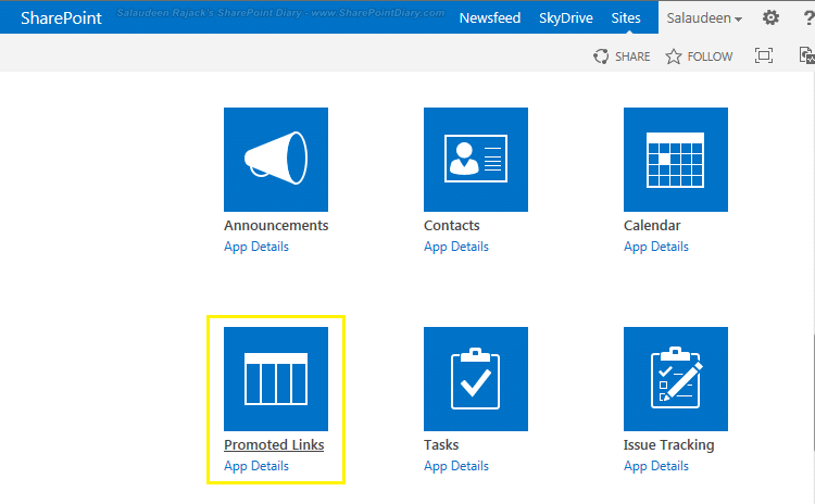 promoted links app sharepoint 2013