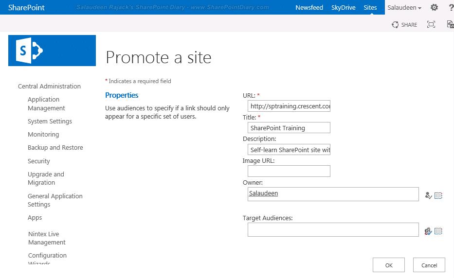 sharepoint 2013 mysite promoted sites