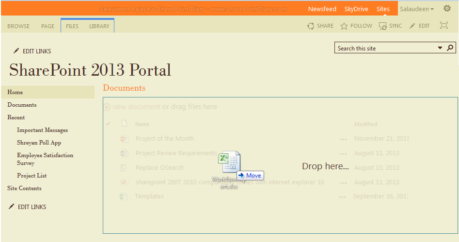 drag and drop in sharepoint 2013 not working